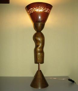 lampe bois terre semi carré